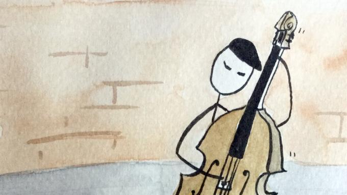 How to finger the Cloud exercise on upright bass