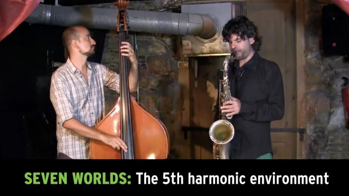 Modal improvisation jam with tenor sax and upright bass