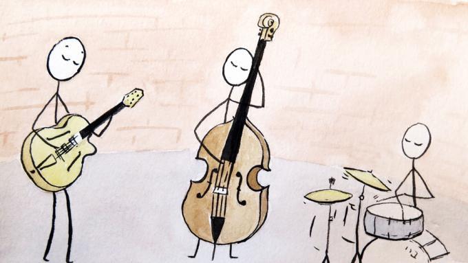 Trío de jazz con guitarra, contrabajo y batería